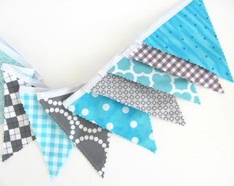 Nursery Bunting Banner, Boy's Birthday Party Decoration Fabric Flags Aqua Grey, Turquoise Check Geometric Bunting Baby