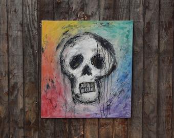 Peinture à l'huile tête de mort-couleur