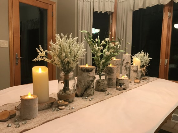 Wood candle holder white birch candles wedding centerpiece for Picture frame candle centerpiece