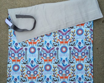 Changing Pad for Baby/Toddler Boy Or Girl - Grey with Sky Blue Scandinavian-Inspired Print with Deer and Fox