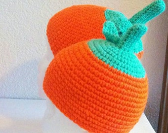 Mommy And Me Crochet Pumpkin Hat Set