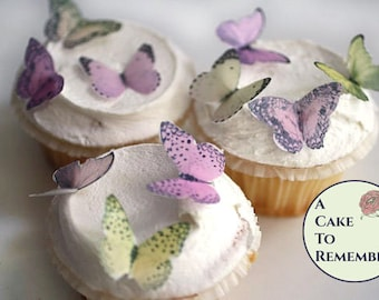 """24 small edible butterfly cupcake topper, 1.25"""" Wedding cake topper, shades of pink and yellow, Wafer paper butterflies for cake decorating."""