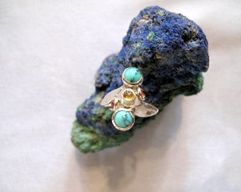 1 of Kind Sapphire and Turquoise  Ring