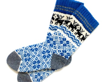 Knit wool socks with patterns Hand made wool socks with patterns Gift wool socks Women and Men wool socks
