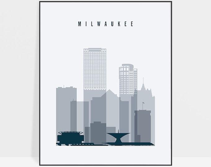 Milwaukee print, Poster, Wall art, Wisconsin Milwaukee skyline, City poster, Typography art, Home Decor, Digital Print, ArtPrintsVicky.