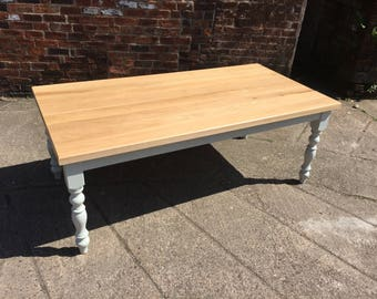7ft Made to measure Solid Oak top farmhouse dining table with Farrow & Ball painted base. Dining table. Rustic country finish.