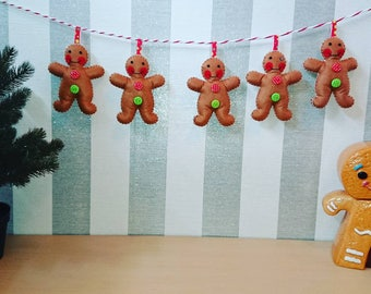 Gingerbread man Garland, Felt Gingerbreadman Garland, Christmas Garland, Felt Gingerbreadman, Gingerbreadman