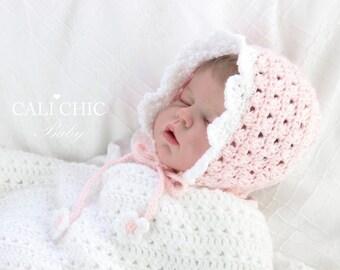 Crochet Baby Bonnet Pattern 441 - Angel Crochet Bonnet Pattern - Baby Bonnet Hat Pattern 441 - Instant Download