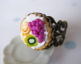 Fruit Tart Ring _ 1/12 Dollhouse Scale Miniature Food _ Polymer Clay _ Foodie Gift _ Tart Collection