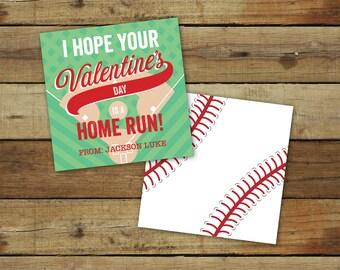 Printable baseball Valentine's Day Card - home run sports valentine - custom classroom valentine - instant download - editable pdf