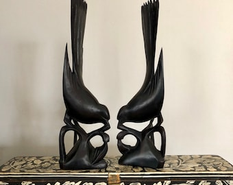 Black Ebony Wood Hand-Carved Bird Pair