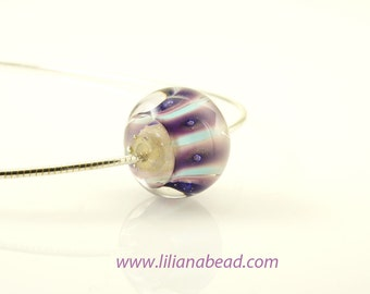 Sunset on Blue: Small Art Glass Bead Necklace.