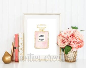Chanel | Coco Chanel Print | Coco Mademoiselle| Printable Coco Chanel Wall Art | Chanel Perfume | Fashion Prints | Watercolor Wall Decor