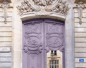 Paris Photography - Mauve Door, Architectural Photography, Travel, French Home Decor, Large Wall Art