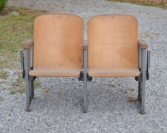 Vintage Wood Theater Chair Pair Metal Base Folding Auditorium Seating Industrial Entryway Mudroom PanchosPorch