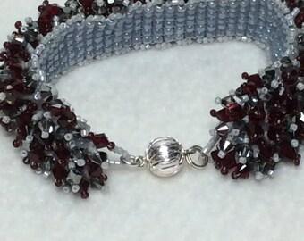 Deep Red and Black Diamond Swarovski Bracelet with Sterling Silver Clasp