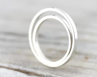 Eclipse double layered ring - recycled sterling silver ring
