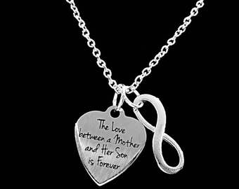 Mom Gift, Mother Necklace, The Love Between Mother And Son Is Forever Mom Mother's Day Gift Infinity Necklace