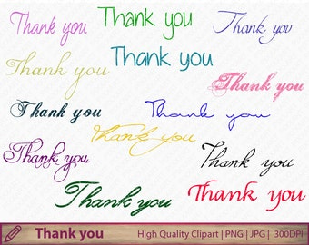 Thank you clipart, calligraphy clip art, handwritten scrapbooking, digital instant download, jpg png 300dpi