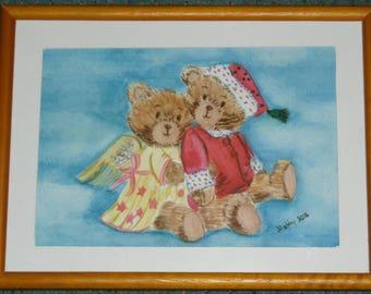 cute little frame 2 Teddy bear watercolor 19 X 25 cm wooden frame