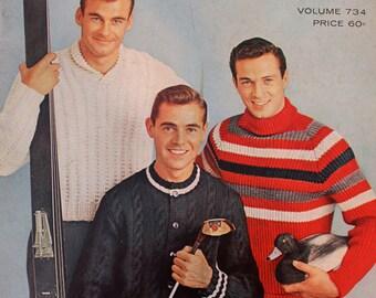 Vintage 1950's Columbia Minerva Men's Book Volume #734 knitting patterns