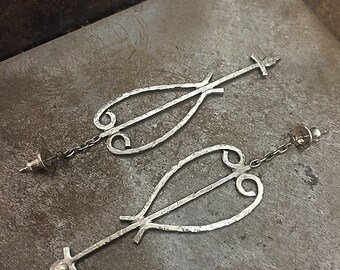 Heart and Arrow Wrought Iron Earrings