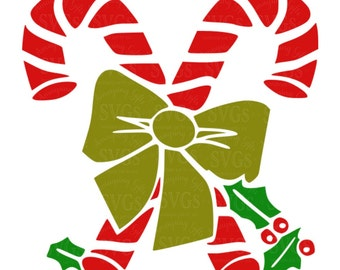 SVG - Candy Cane Stencil with Holly - Candy Cane - Candy Cane with Bow - Candy Cane with Holly - Christmas - Holiday Decor - Pallet Sign