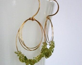 Gold Open Circles Peridot Earrings Green Gemstone Hoop Dangles 14k Gold Fill Beaded Oval Hoops August Birthday Bellanti Jewelry