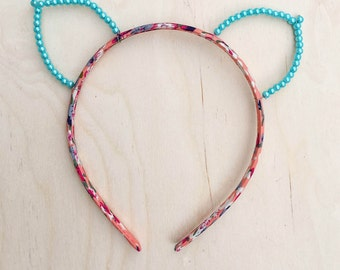Blue Pearl Cat Ears Headband, Floral Print Headband, Bachelorette, Valentine's Day