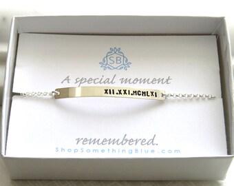 Date Bracelet • Skinny Bar Bracelet • Roman Numerals • Special Moment • Anniversary Date • Name Plate • Stacking Bracelet • Wedding Date