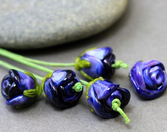 Handmade lampwork glass Beads, Lampwork Glass Beads, Lampwork Glass, Lampwork Flower beads SRA