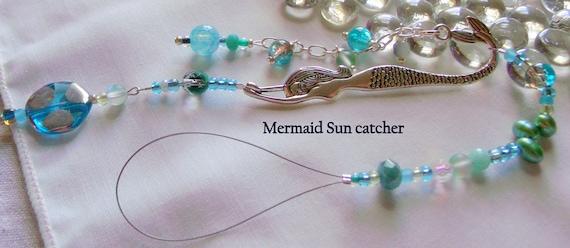 Mermaid chandelier - Aqua pearl sun catcher - for little mermaids - window decor - mermaid wall decorations - teen girl gift - beaded charm