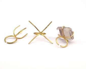 Claw Ring Blanks - 10 Raw Brass 4 Claws Ring Blanks For Natural Stones N044