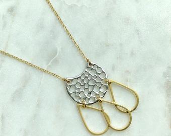 Dreamcatcher necklace / geometric necklace / mixed metal necklace / bohemian necklace / gold necklace / silver necklace / crescent moon