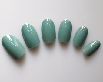 24 False Nails, Color Nails, Oval Nails, High Quality Artificial Nail Tips w/Adhesive Tabs - Blue Sage #FREE SHIPPING