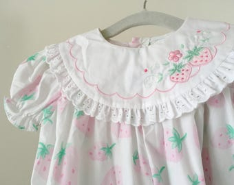 Vintage Strawberries Romper - 6-9 months