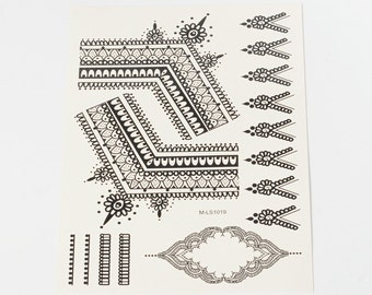 Black Henna Style Tattoo Sheet