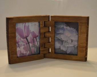 """Wooden Bi-Fold Picture Frame for 3 1/2""""x5 Photos In Your Choice of Three Different Colors- Made To Order"""