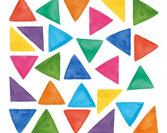 27 Watercolor Cliparts, Triangles Clipart, Watercolor Triangles, Handpainted Clipart