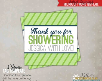 Green & Navy Modern Stripe Bridal Shower Favor Tag Template, Modern Tag, DIY Bridal Shower Favors, Printable Instant Download #S115