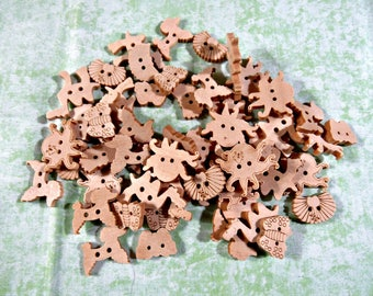50 Wood Buttons Mixed Shape Natural 2 Holes (B309a)