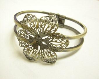 1pc antique bronze filigree bracelet bangle setting-6973