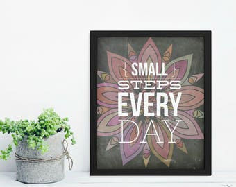 Small Steps Every Day Chalkboard Floral Digital Printable | Home Decor Wall Art Print | INSTANT DOWNLOAD