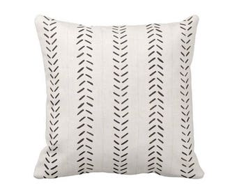 """Mud Cloth Print Throw Pillow/Cover, Off-White/Black 16, 18, 20, 26"""" Sq OUTDOOR or INDOOR Pillows/Covers, Mudcloth/Boho/Arrows/Tribal/Design"""