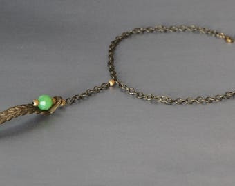 Vintage brass and faceted glass bead necklace