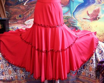 SALE, SKIRT, Red, Dance, Tiered, sequin, skirt, size S
