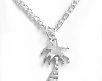 Silver Plated Palm Tree Necklace Available in 16, 18 & 20 inch chain