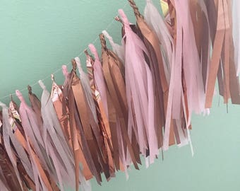 Rose Gold and Blush Tassel Garland/ tassle garland- Tissue Paper garland-