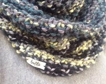 Hand Knit Neckwarmer, Cowl, Snood, Chunky, Infinity Scarf, Grey, Green, Oversized, Neutral, Modern