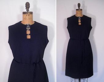 1960s black rhinestone trim cocktail dress • 60s mid-century mod sleeveless dress • vintage Bleeker Street basketweave print party dress